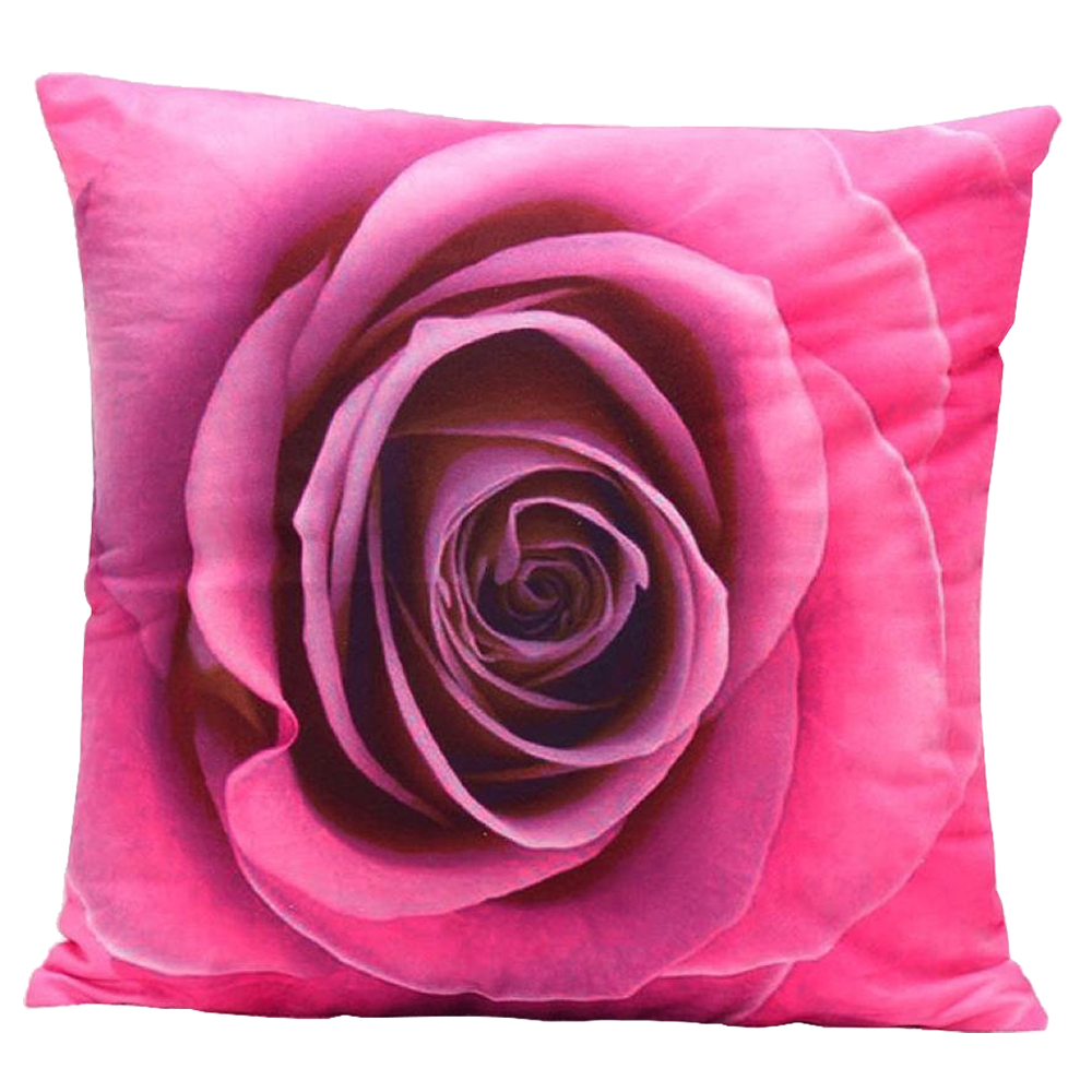 3D Flower Print Sofa Bed Home Decoration Festival Pillow Case Cushion Cover  (Hot Pink)