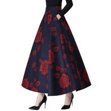341d92325f Otoño e Invierno falda mujeres falda de flor de impresión de alta cintura  falda de lana mujer Jupe mujer elegante de moda de lan.