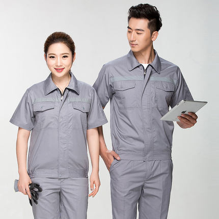 Summer Reflective Thin Work Clothing Sets Unisex Workwear Suits short Sleeve Jacket+Pants Working Factory Uniforms Repair Worker 4