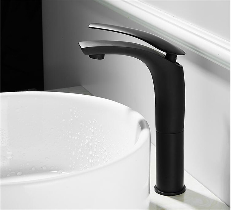 Bathroom Basin Faucet White and Black Baking Solid Brass Specail Sink Mixer Tap Hot & Cold Waterfall Basin Faucet Free Shipping
