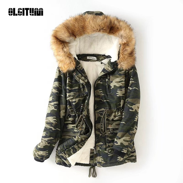 Best Price Winter Jacket Womens Outwear 2018 New Fashion down cotton jacket Women Camouflage Parka Coats Warm Hooded Faux Fur Coat