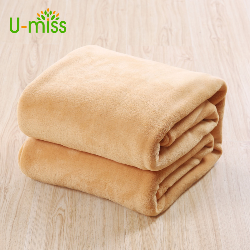 U Miss Sofa Air Bedding Throw Blankets Solid Double Travel Flannel Plush China Sofa Blanket On