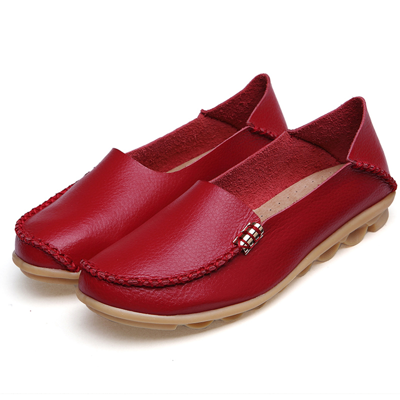 Women Shoes Plus Size Flat Shoes Women Genuine Leather Loafers Nurse Slip On  Women Flat Oxford Sapato Feminino Ballet Flats(China)