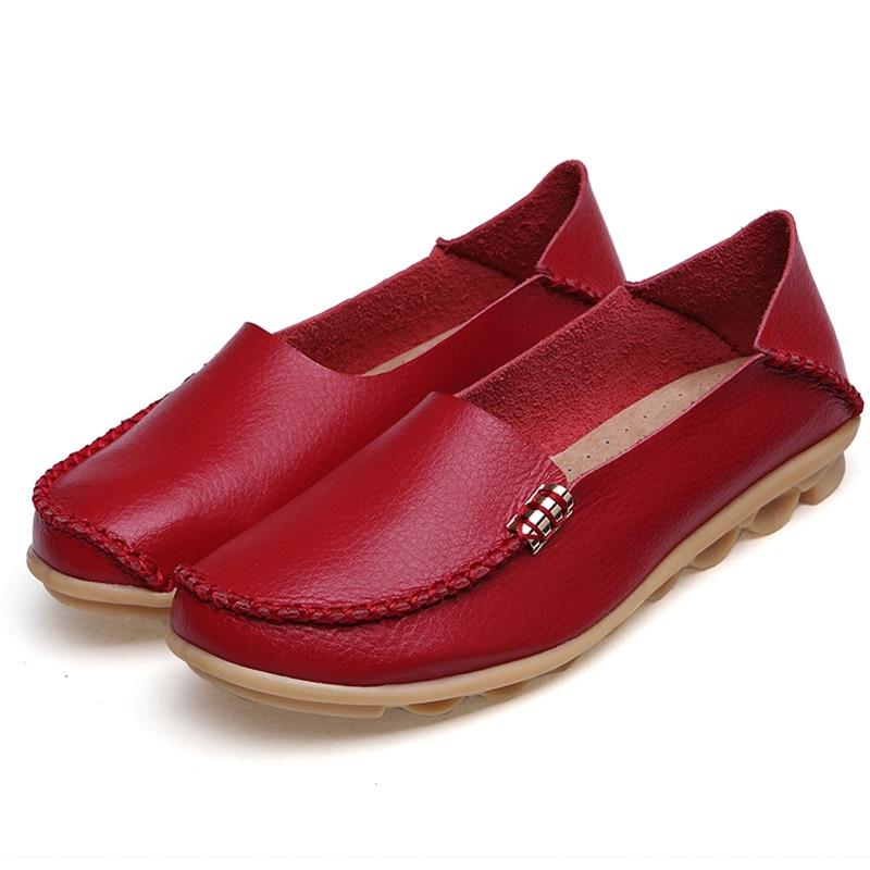 Women Shoes Plus Size Flat Shoes Women Genuine Leather Loafers Nurse Slip On  Women Flat Oxford Sapato Feminino Ballet Flats