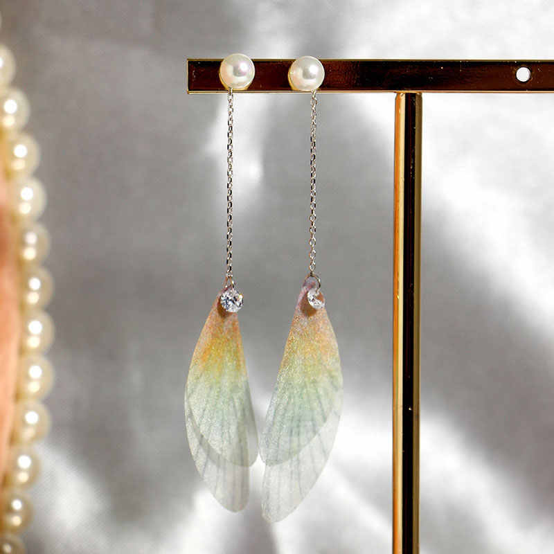 925 Sterling Silver Dolce delle Donne di Alta qualità Orecchini Libellula Ala Orecchini a Forma di