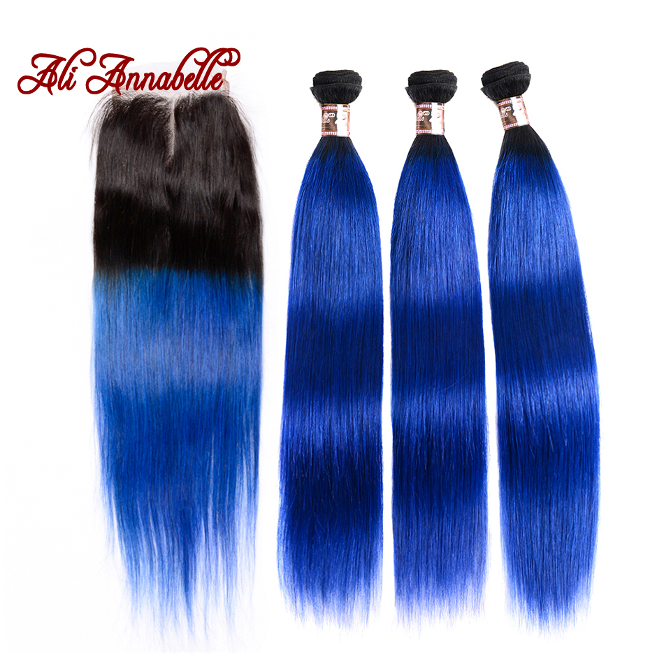 ALI ANNABELLE HAIR Straight Ombre Brazilian Hair 3 Bundles with Closure 1b/Blue Remy Ombre Human Hair Weave & Lace Closure-in 3/4 Bundles with Closure from Hair Extensions & Wigs    1
