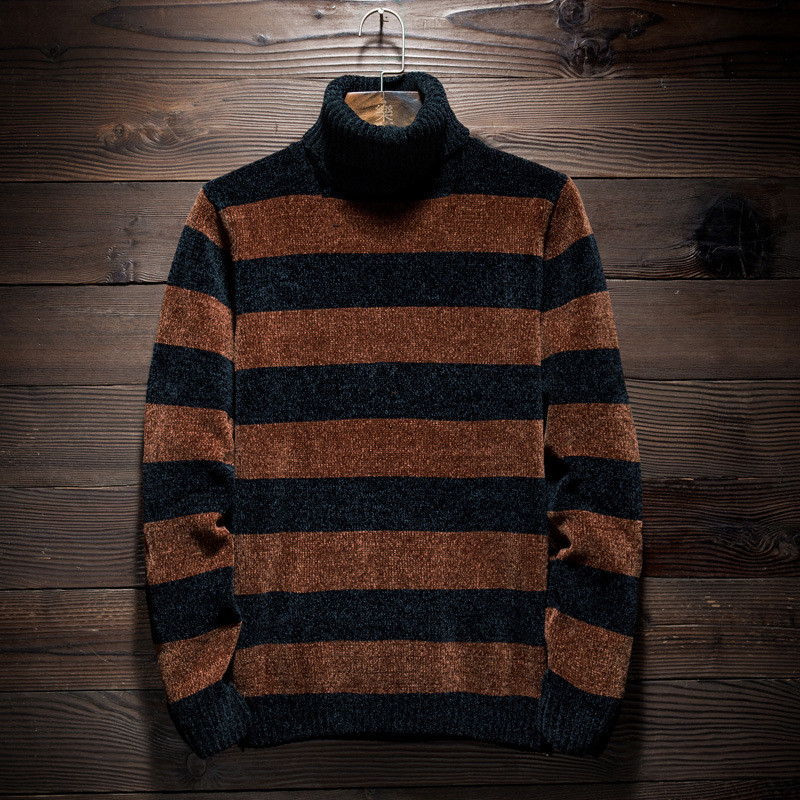 MRMT 2019 Brand Winter Men's Fashion Turtleneck Sweater Stripe Tops Pullover For Male Leisure Sweater