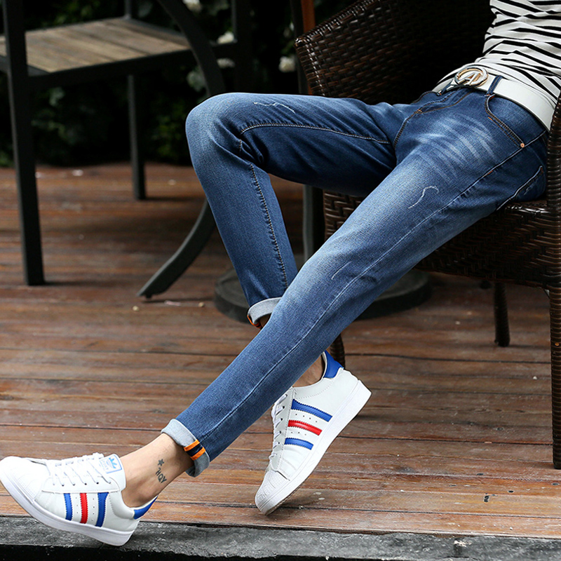 2018 Fashion Designer Spring Jeans Youths New Popular Jeans Denim Pants Trousers Elasticity Slim ankle Solid Color