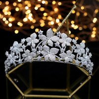 Deluxe Wedding Flower Zirconium stone crowned queen Princess Prom ball headwear headgear accessories for wedding hair