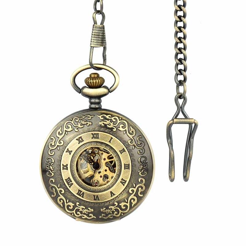 Retro Pocket Watch for Unisex Men Women Bronze Elegant Engraved Case Steampunk Skeleton Mechanical Movement With Chain Gift Box 4