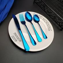Лидер продаж, 4 шт., синяя посуда, кухонный нож из нержавеющей стали, вилка, столовая ложка, набор столовых приборов, Прямая доставка