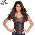 Brown 12 Steel Bones Steampunk Corset with Thong sexy women lingerie slim Body Shaper Overbust Corsets and Bustiers Tops 5415