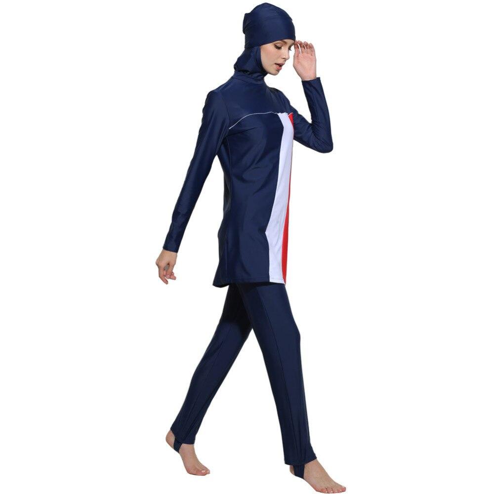 2018 modeste maillots de bain islamiques rayé maillot de bain femmes Hijab robe de bain couverture complète musulman Conervative Beachwear grande taille 4XL Q1178