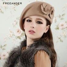 Женские теплые береты freeander модные из натурального меха