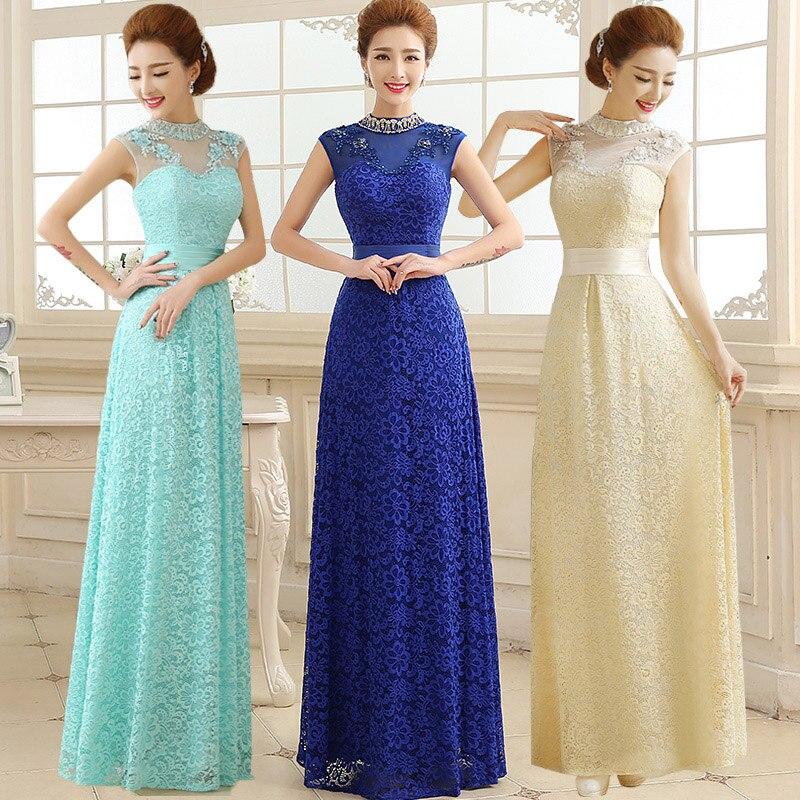 Aliexpress.com : Buy Long Royal Blue Bridesmaid Dress Lace High ...