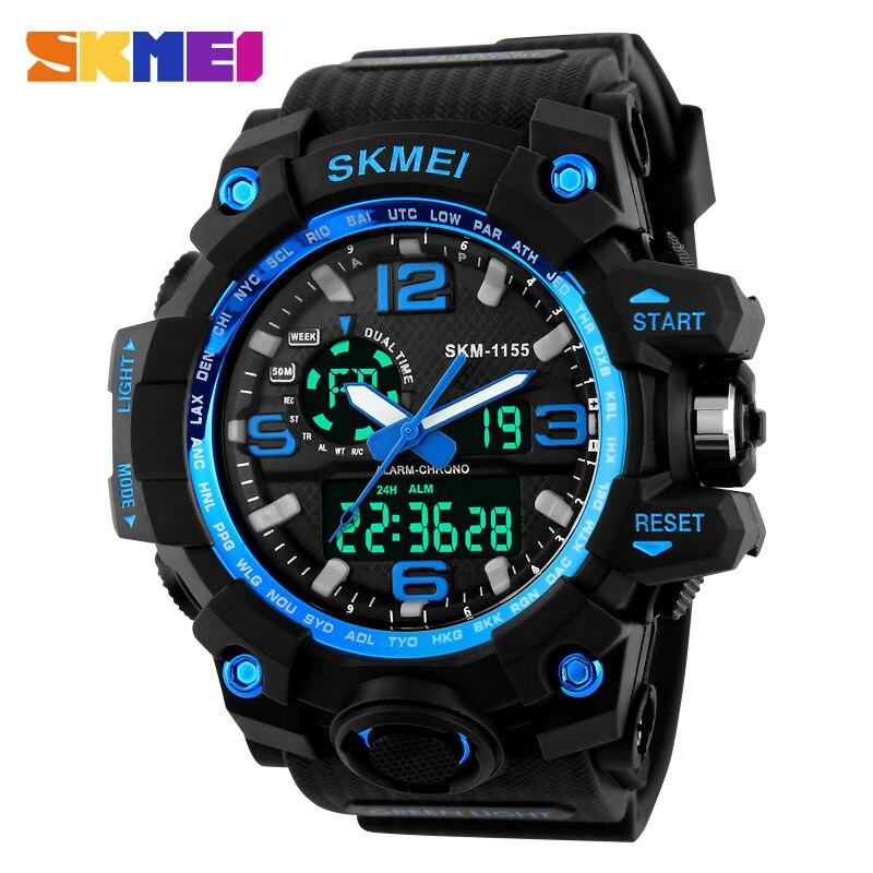 Choque SKMEI Dial Grande Al Aire Libre Deportes Relojes Hombres LED Digital 50 M