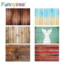 Fond de photographie Funnytree mur en bois pâques noël sirène thème photocall arrière plans pour studio photo petite taille