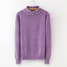 2018 Winter New Style Pure Sweater with Pearl Ms. Joker Sweater Long Sleeve Half Turtleneck Slim Warm Cashmere Pullovers