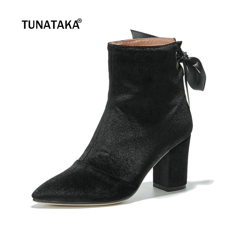 Women Comfort Suede Thick High Heel Ankle Boots Fashion Zipper Boots Ladies Pointed Toe Lace Up Fall Winter Shoes Black Pink ladies genuine leather lace up thick high heel ankle boots fashion round toe zipper winter women shoes black red