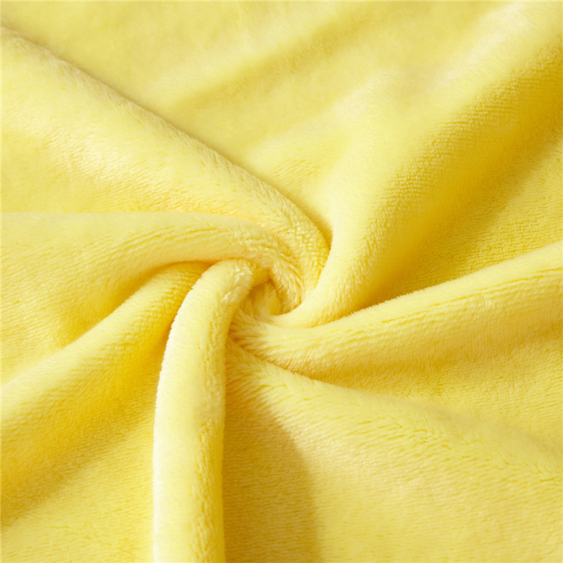 Image 5 - Super Soft Coral Fleece Blanket Solid Yellow Color Double Bed Twin Queen Size Plaid Furniture Cover Bedspread Coverlet Cobertor-in Blankets from Home & Garden