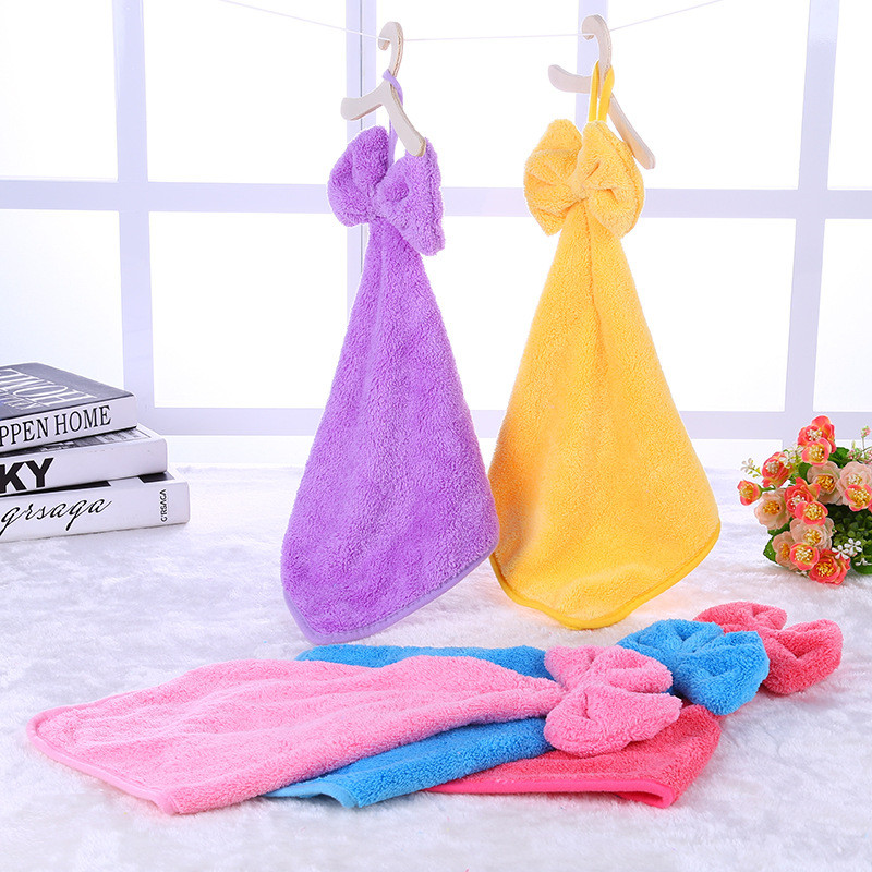 Bow Hanging Hand Towel Cartoon Towel For Kids Chidren Microfiber Absorbent Hand Dry Towel Kitchen Bathroom Soft Plush Dishcloths