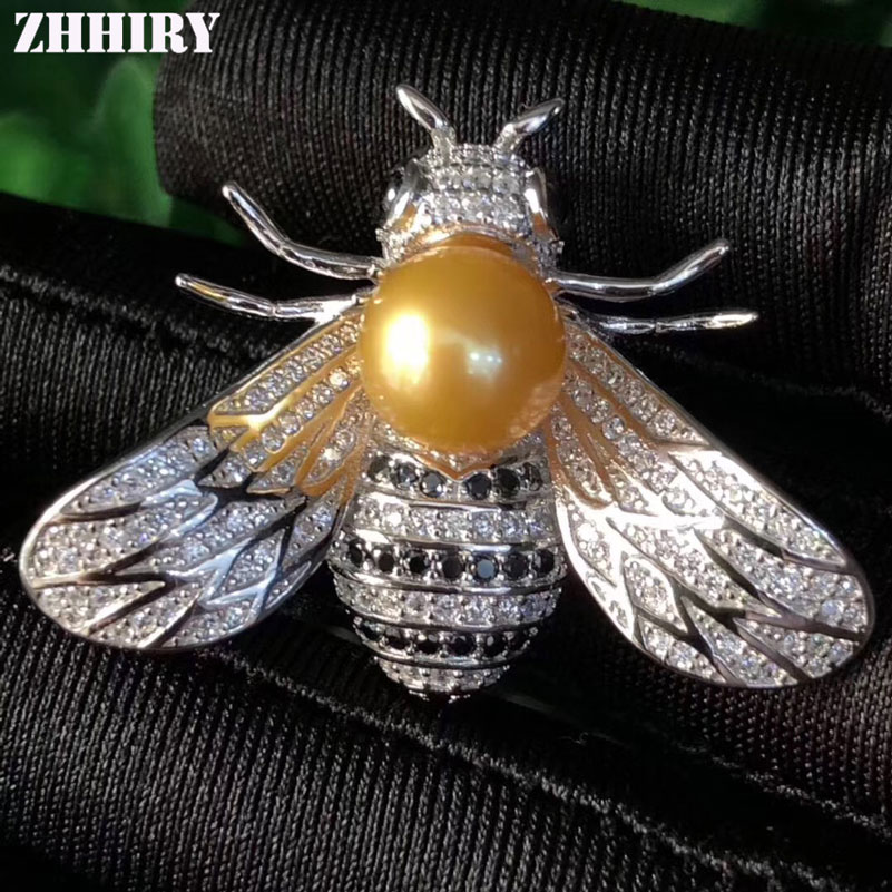 Women Real Pearl Brooch Solid 925 Sterling Silver Brooch Or Pendant Dual Purpose For Ladies Bee Shape Fine Jewelry