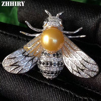 ZHHIRY Women Real Pearl Brooch Solid 925 Sterling Silver Brooch Or Pendant Dual Purpose For Ladies Bee Shape Fine Jewelry