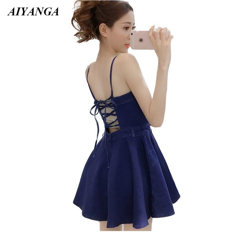 Sexy Denim Dress Women 2019 Spring Summer Spaghetti Strap Dresses Sleeveless Off Shoulder Back Lack Up Mini A-Line Dresses Lady