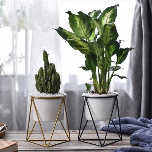 Modern desktop white small ceramic plant flower pot planter with modern desktop white small ceramic plant flower pot planter with geometric yellow iron rack holder for mightylinksfo