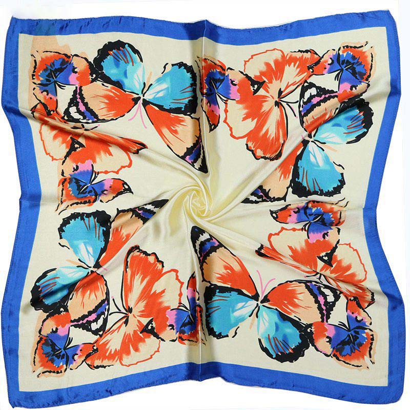 HTB1R6invpuWBuNjSszbq6AS7FXas - Scarves for Women Fashion Digital Printing Simulation Silk Scarf for Ladies Customize Butterfly Vintage Small Square Scarf