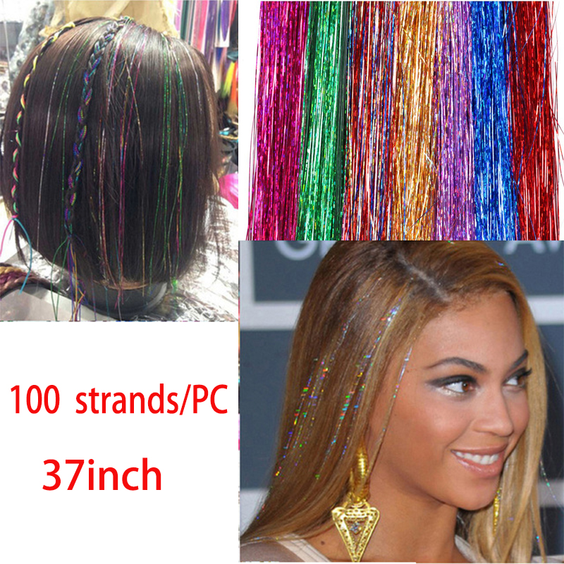 100 Strands Sparkle Shiny Tinsel Long Decoration Bling Rainbow Silk Hair Extensions Dazzles Blue Pink Purple Green Colorful 36