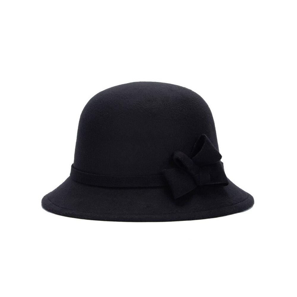 Широкополая шляпа винтажные шляпы дамская шляпа с бантом Повседневная шерстяная зимняя фетровая шляпа Регулируемая пляжная дорожная - Цвет: black