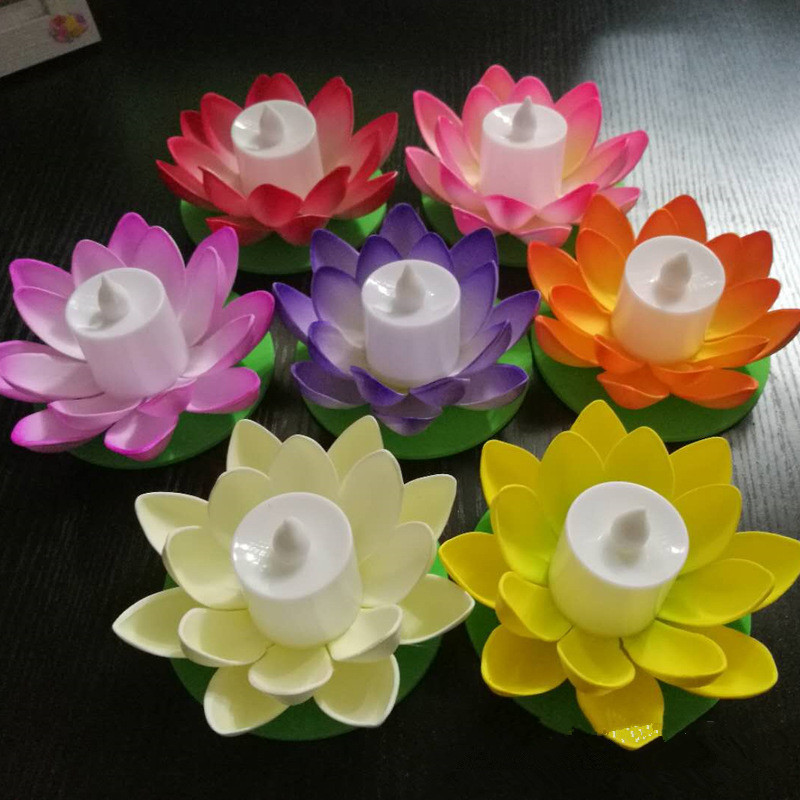 CLAITE Artificial Light LED Colorful Lotus Wishing Light Changed Floating Flower Lamps Water Lantern Festival Decoration Light