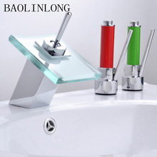 Brass Bathroom Basin Faucet Bathroom Deck Mount Vanity Vessel Sinks Mixer Tap Waterfall Faucets bathroom waterfall led faucet color changing solid brass body basin faucets bathroom mixer tap deck mounted with install hoses