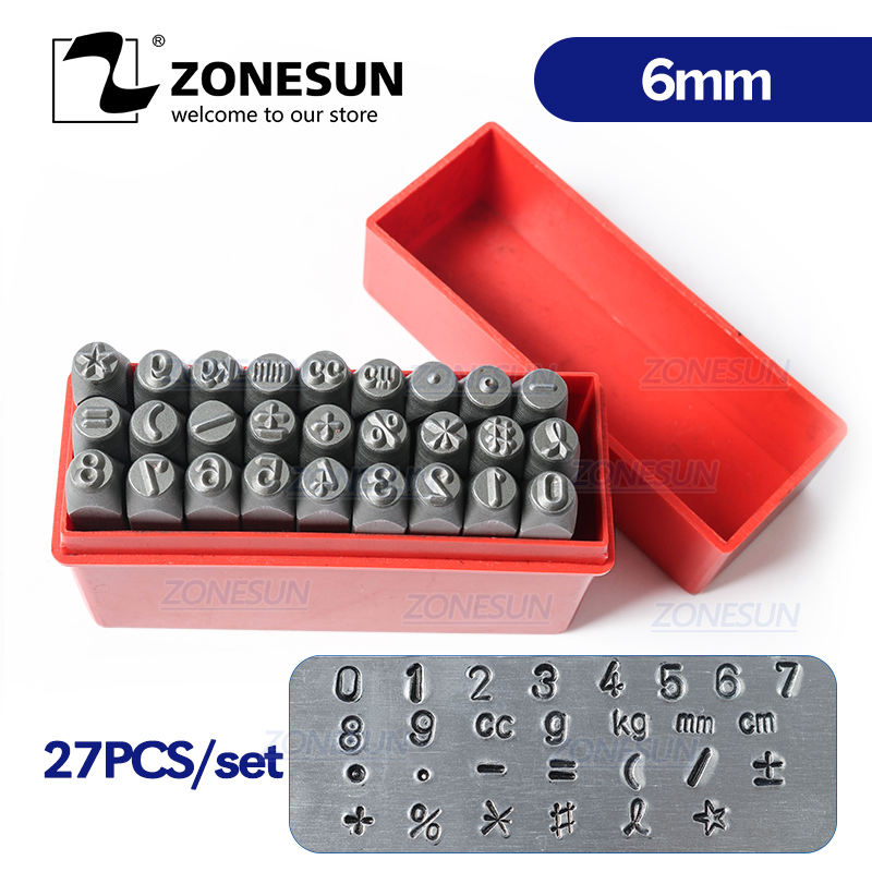 ZONESUN 27PCS Carbon Steel Jewelry Stamp Number Set Steel Stamps Punch Die Metal Mark Stamping Tools For Bracelet Necklace Ring