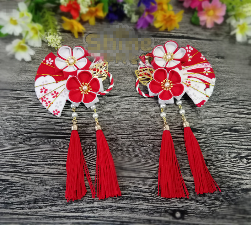 Hand Made Hairpin Cotton Cloth Hair Clip Red Cherry Barrettes Japanese Style Anime Cosplay Accessories Kimono Fan ...