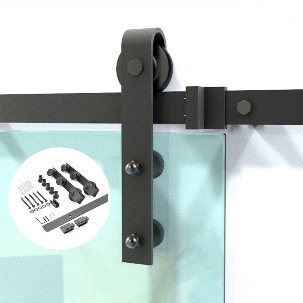 Ensemble de quincaillerie de porte coulissante en acier au carbone noir pour porte vitrée Kit de rail de porte coulissante en verre intérieur moderne