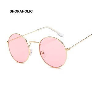 Vintage Classic Metal Round Sunglasses Women Small New Prince Retro Brand Red Orange Pink Clear Glasses Women Shades UV400(China)