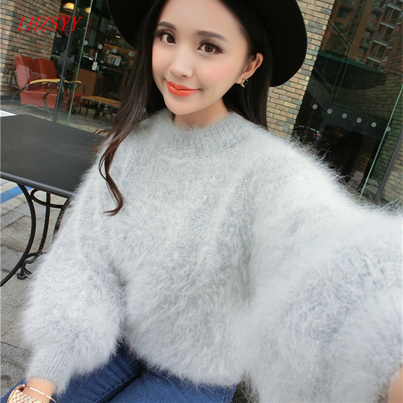 New autumn and winter long haired Mink Cashmere thick warm Female round neck solid color knit