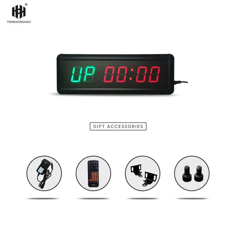 1 5inch 6 digit LED Timer Boxing GYM Crossfit tabata EMOM interval  Programmable Countdown/UP stopwath Real time clock