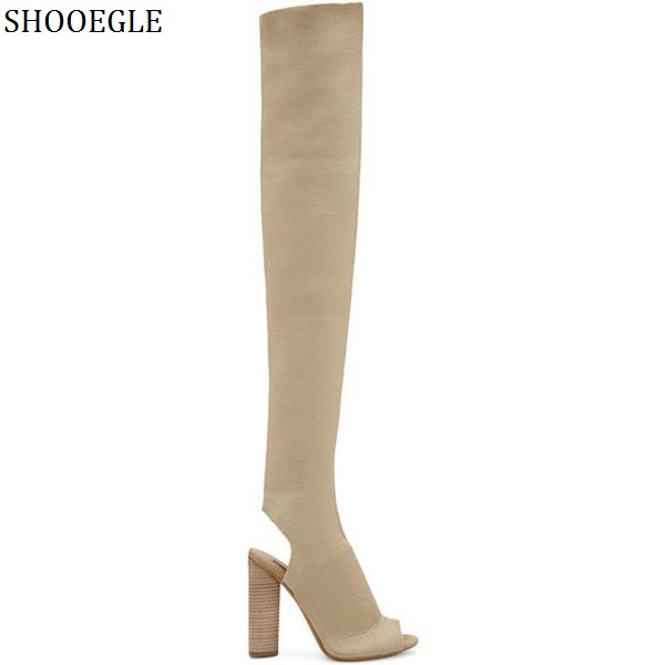 SHOOEGLE Army Green Stretch Knit Thigh High Boots Block Heel Over The Knee Boots Kim Kardashian Style High Heels Women Boots