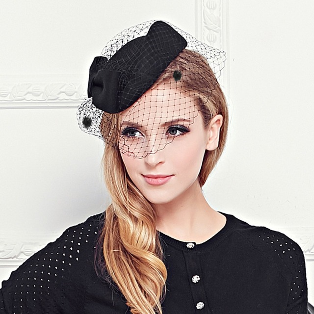 5b39a307f6f VBIGER Womens Hat Cap Fedoras Dress Fascinator Wool Felt Pillbox Hat Party  Wedding Bow Veil Hat