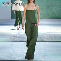 TWOTWINSTYLE Summer Sleeveless Sexy Jumpsuit For Women Off Shoulder High Waist Wide Leg Pants Female Fashion Clothes 2019 New