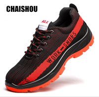 spring men Work shoes boots Flying wire weaving Steel toe cap Breathable Comfortable lace up Anti smashing anti piercing CS 313