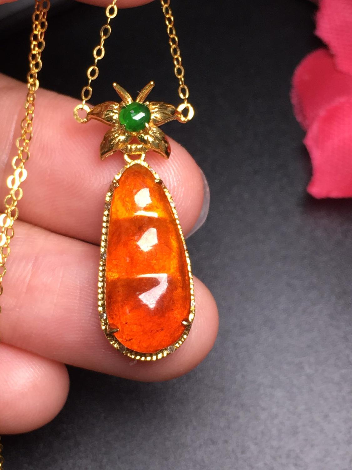 706 Fine Jewelry Pure 18K White Gold Diamonds Burmes Origin Buddha Natural Red Jade Female's Women Pendants Necklaces