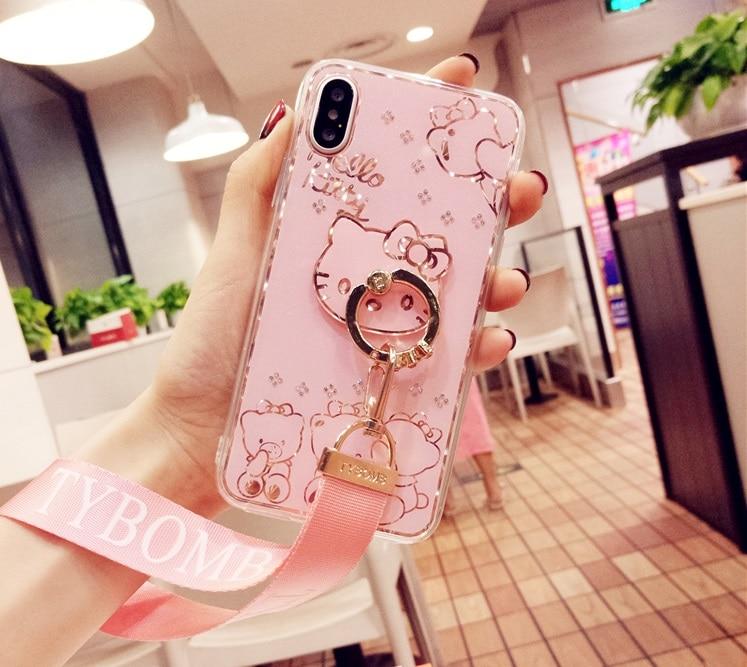 Für iPhone X/10 6 s plus fall für iphone 7 plus bing hallo kitty Diamant zurück Fall Für iPhone 8 7 plus abdeckung jeweled finger ring