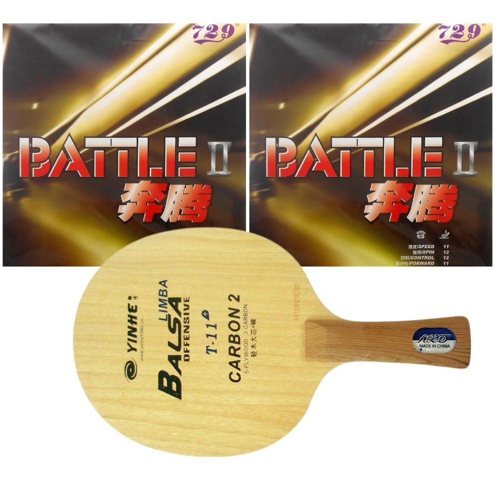 Pro Combo Racket Galaxy YINHE T-11+ Table Tennis Racket With 2x 729 Battle II Tacky Rubbers Long Shakehand FL