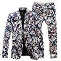 ( Jacket + Pants ) hombre trajes florales 2015 nuevo diseñador marca moda vintage flor delgada traje de vestir de negocios Blazer envío gratis