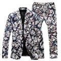 ( Jacket + Pants ) homens ternos florais 2015 nova marca Designer de moda flor magro vintage vestido de terno de negócio Blazer frete grátis