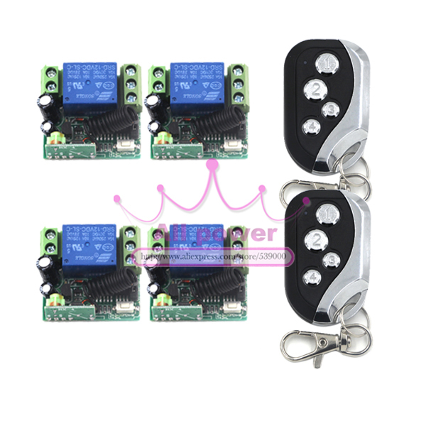 Free shipping DC12V 1ch rf Wireless Remote Control Switch System 4Receivers & 2Transmitter 433/315mhz learn code switch free shipping dc12v 1ch wireless remote
